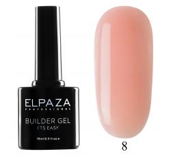 Гель для наращивания с кисточкой Elpaza Builder Gel it's easy № 08 15 МЛ  розовый