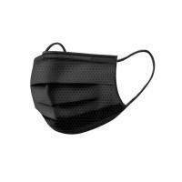 Маски 3-х слойная с текстурой «соты» черная 50 ШТ маска для лица
