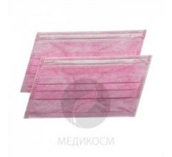 Маски трехслойные розовые 50 шт маска для лица
