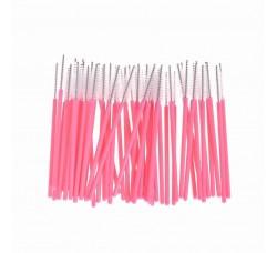 Одноразовая щеточка для ресниц и бровей щеточки белые розовый стержень 50шт