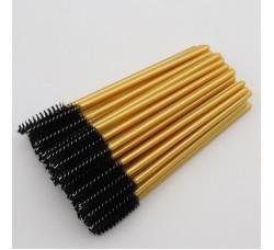 Одноразовая щеточка для ресниц и бровей щеточки золотисто-черные 50шт