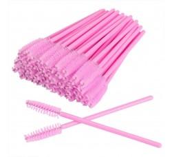 Одноразовая щеточка для ресниц и бровей щеточки розовые розовый стержень 50шт
