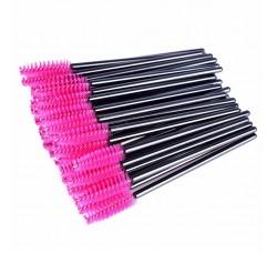Одноразовая щеточка для ресниц и бровей щеточки розовые черный стержень 50шт