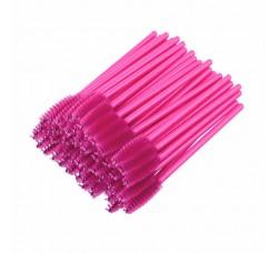 Одноразовая щеточка для ресниц и бровей  темно розовая 50шт