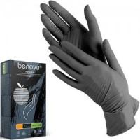Перчатки Benovy нитриловые неопудренные размер М черные  100 шт