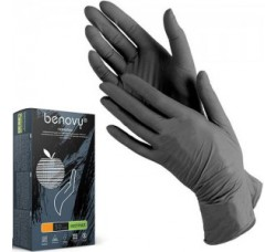Перчатки Benovy нитриловые неопудренные размер S черные  100 шт