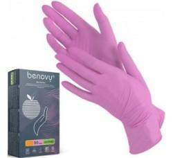 Перчатки Benovy нитриловые неопудренные размер S розовые 100 шт