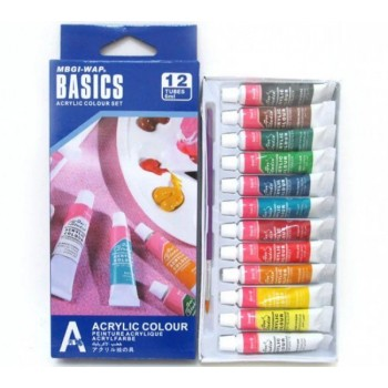 Краски акриловые 12 цветов 6 мл Basics EA1206C-1